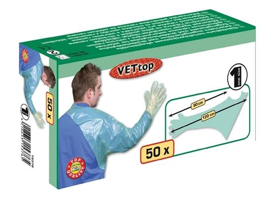 Fotografija proizvoda Jednokratne veterinarske rukavice VETtop sa zaštitom ramena (pak. 50 komada)