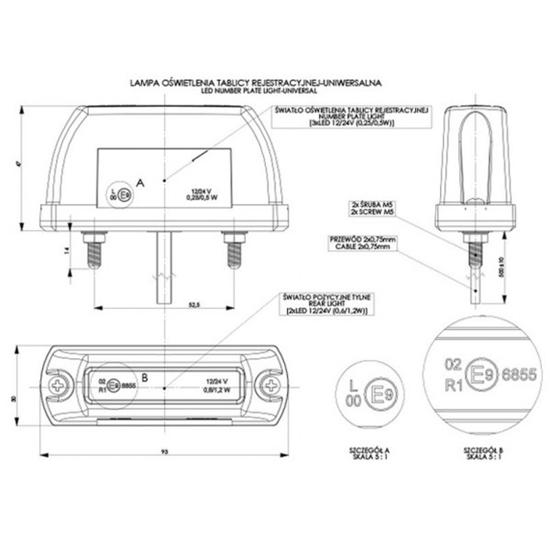 Fotografija proizvoda Svjetlo registarske pločice,LED