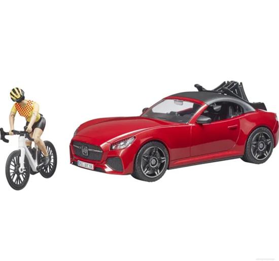 Fotografija proizvoda Igračka Auto Roadster s trkačkim biciklom i biciklisticom, BRUDER