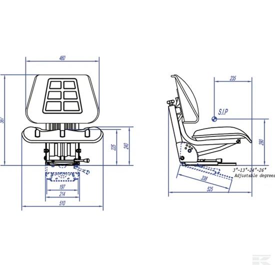 Univerzalno traktorsko sjedalo sa oprugom