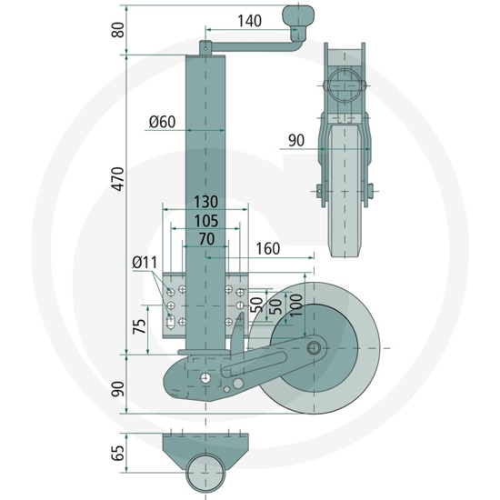 Potporni kotač za auto prikolicu nosivosti do 250kg